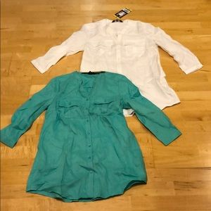 Nicole Miller linen shirt turquoise white small